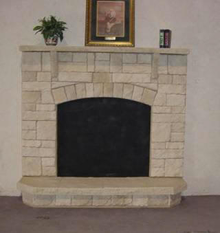 Austin Fan Surround With Stone Mantel And Raised Platform