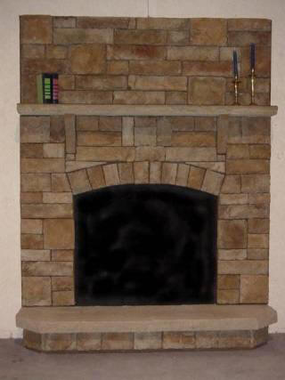 Classic Fieldstone Fan Surround Raised Hearth With Stone Mantel