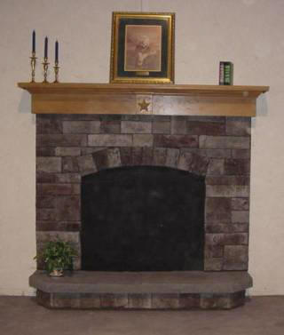 Grey Fieldstone Fan Surround Raised Hearth With Texas Star Mantel